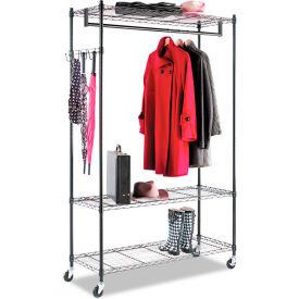 Alera® Garment Rack, Black Steel w/ Casters, 3-Shelf