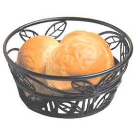 """American Metalcraft BLLB81 - Bread Basket, 8"""" Dia., Black Leaf Design"""