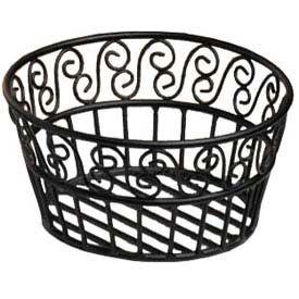 "American Metalcraft BLSB93 - Bread Basket, 9"" Dia., Black Scroll Design"
