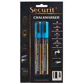 American Metalcraft BLSMA510BU - Securit Chalk Markers, Rain & Smear Proof, Blue, 2 Pack
