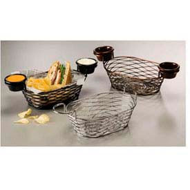 American Metalcraft BNBB692 - Birdnest Basket, 9 x 6 x 3-7/8, Oblong, W/Ramekin Holder, Wire, Black