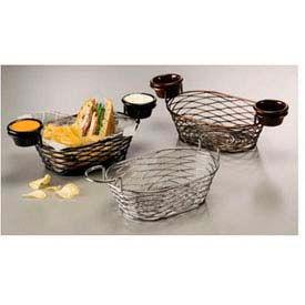 American Metalcraft BNBC962 - Birdnest Basket, 9 x 6 x 3-7/8, Oblong, W/Ramekin Holder Wire W/Chrome
