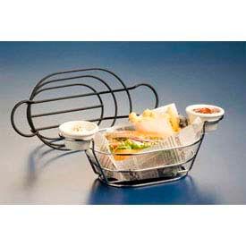 American Metalcraft BSKC69 - Basket, 6 x 9, Oval, W/Built In Ramekin Holders, Wire, Chrome Finish