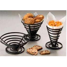 """American Metalcraft FCD1 - French Fry Basket, 5"""" Dia. x 6-3/4""""H, Flat, Coil, Black"""