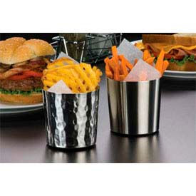 "American Metalcraft FFHM37 - French Fry Cup, 3-3/8"" Dia. x 3-3/8""H, Satin/Hammered Finish"