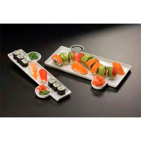 American Metalcraft PORS136 - Sushi Plate, 13 x 6, With Built-In Sauce Cup, Porcelain