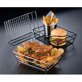 American Metalcraft RMB95B - Basket, 9 x 6 x 2-1/2, Rectangle, Grid Bottom, Black