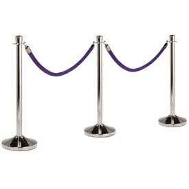 "Securit®Barrier System, Portable, 15"" Dia X 40, Post & Base, Polished Chrome"