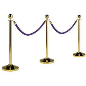 "Securit®Barrier System, Portable, 15"" Dia X 40, Post & Base, Gold Plated"