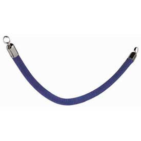 "Securit®Barrier System Rope, 2"" Dia X 60, Velour, Blue With Chrome Ends - Min Qty 2"