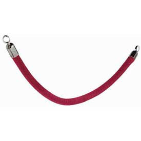 """Securit®Barrier System Rope, 2"""" Dia X 60"""", Velour, Red With Chrome Ends - Min Qty 2"""