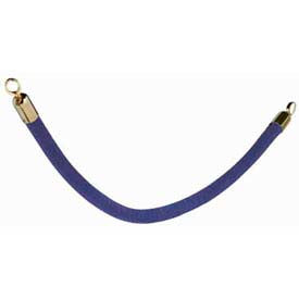 "Securit®Barrier System Rope, 2"" Dia X 60"", Velour, Blue With Gold Ends - Min Qty 2"
