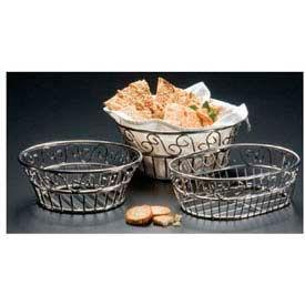 "American Metalcraft SSLB94 - Bread Basket, 9"" Dia., Round, Scroll Design"