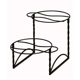 """American Metalcraft TLTS1224 - Display Stand, 2-Tier, 12"""" x 24"""", Handles, Twisted Black"""