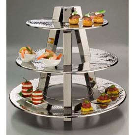 """American Metalcraft TTS2319 - Ascent Display Stand, 3-Tier, 23"""" Dia. x 20""""H, Hammered"""