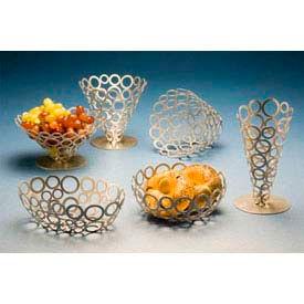 "American Metalcraft WCW69 - Go-Go Basket, 6""W x 9""L, Oval Shape, Ring Design, Silver Finish"