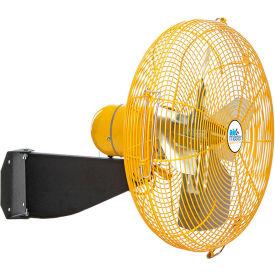 """Airmaster Fan 24"""" Wall Mount Yellow Safety Fan - 2 Speed Drop Cord Switch 10740K 1/3 HP 5280 CFM"""