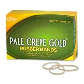 "Alliance® Pale Crepe Gold® Rubber Bands, Size # 16, 2-1/2""x 1/16"", Natural, 1 lb. Box"