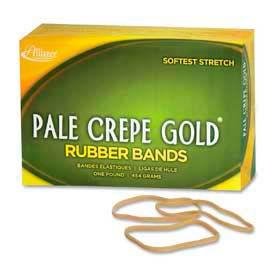 "Alliance® Pale Crepe Gold® Rubber Bands, Size # 33, 3-1/2""x 1/8"", Natural, 1 lb. Box"