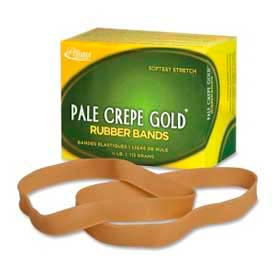 "Alliance® Pale Crepe Gold® Rubber Bands, Size # 107, 7"" x 5/8"", Natural, 1/4 lb. Box"