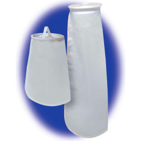"Sewn Liquid Bag Filter, Nylon Mesh, 4-1/8""Dia. X 8""L, 45 Micron,  Plastic Flange - Pkg Qty 50 - Pkg Qty 50"