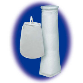 "Liquid Bag Filter, Polyester Felt, 4-1/8""Dia. X 8""L, 1 Micron, Steel Ring - Pkg Qty 50"