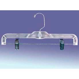 "Skirt And Pants Hanger, W/ Clips And Swivel Hook, 14"" L, Plastic, Clear - Pkg Qty 100"