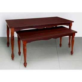 "Nesting Table, 1 Set, 2 Tables, 60"" L x 32"" W x 29"" H, Wood, Dark Cherry"