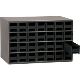 "Akro-Mils Steel Small Parts Storage Cabinet 19228 - 17""W x 11""D x 11""H w/ 28 Black Drawers"