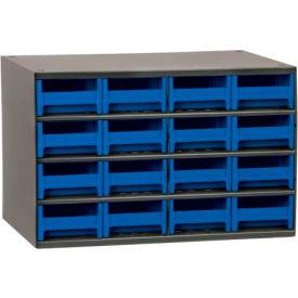"Akro-Mils Steel Small Parts Storage Cabinet 19416 - 17""W x 11""D x 11""H w/ 16 Blue Drawers"