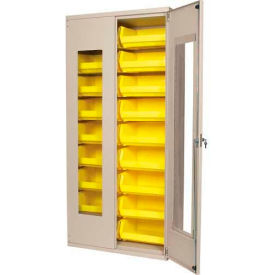 "Akro-Mils AC3618QV250 Quick-View Cabinet w/18 Yellow AkroBins Interior,36""Wx18""Dx78""H,Beige"