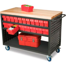 Akro-Mils Large Putty Louvered Shelf Cart Hardwood Top MA4824P w/38 Blue AkroDrawers