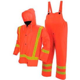 Viking® FR PVC Open Road Suit W/Hi-Vis Reflective Tape, Orange, 3XL