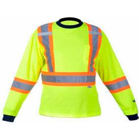 Viking® 6015G Hi-Vis Safety Poly/Cotton Lined Long Sleeve Shirt, Green, XL