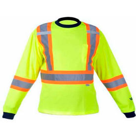 Viking® 6015G Hi-Vis Safety Poly/Cotton Lined Long Sleeve Shirt, Green, 3XL