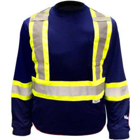 Viking® 6015N Hi-Vis Safety Poly/Cotton Lined Long Sleeve Shirt, Navy, 4XL