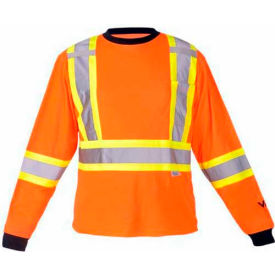 Viking® 6015O Hi-Vis Safety Poly/Cotton Lined Long Sleeve Shirt, Orange, M