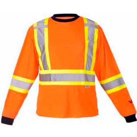 Viking® 6015O Hi-Vis Safety Poly/Cotton Lined Long Sleeve Shirt, Orange, XL