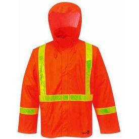 "Viking® FR PU Rain Jacket W/Hood, 2"" Yellow Prism Reflective Tape, Orange, L"