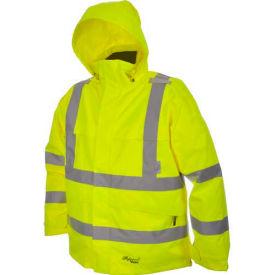 Viking® D6329JG Journeyman Hi-Vis 300D Trilobal Safety Jacket W/ Hood, Green, 4XL