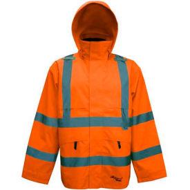 Viking® D6329JO Journeyman Hi-Vis 300D Trilobal Safety Jacket W/ Hood, Orange, 4XL