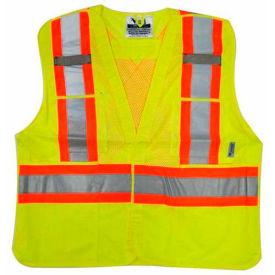 Viking® U6125G Hi-Vis Mesh 5 Pt. Break-Away Safety Vest, Green, 2XL/3XL