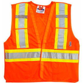 Viking® U6125O Hi-Vis Mesh 5 Pt. Break-Away Safety Vest, Orange, 4XL/5XL