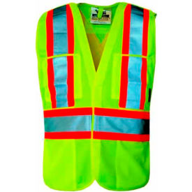 Viking® U6135G Hi-Vis Solid 5 Pt. Break-Away Safety Vest, Green, 2XL/3XL