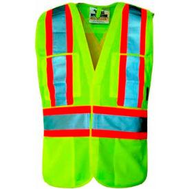 Viking® U6135G Hi-Vis Solid 5 Pt. Break-Away Safety Vest, Green, L/XL