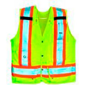 Viking® U6195G Hi-Vis Double Stitched Surveyor Safety Vest, Green, XL