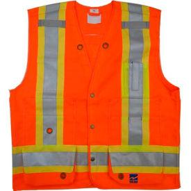 Viking® U6195O Hi-Vis Double Stitched Surveyor Safety Vest, Orange, XL