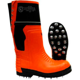Click here to buy Viking Class 2 Chainsaw Caulked Work Boots, Orange/Black, Size 11.