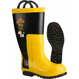 Viking Snug Fit Firefighter Chainsaw Boots, Black/Yellow, Size 10 by