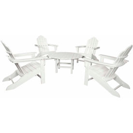 Hanover All-Weather 5-Piece Adirondack Chat Group, White